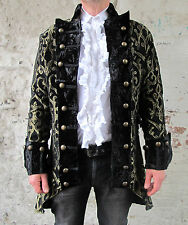 Black Gold Pirate Regal Gothic Military Jacket Coat Brocade Quality Theatrical