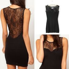 SEXY WOMEN 'S BLACK FLORAL LACE SLEEVELESS BODYCON PARTY DRESS TOP*
