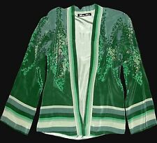 Small WINTER KATE Green OPY Vintage Silk Asian Kimono Floral Bed Jacket