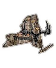 New York State Hunting Decal - Whitetail Deer Skull Camo Sticker NY