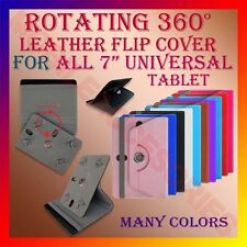 "ROTATING 360° LEATHER FLIP STAND COVER for 7"" TABLET UNIVERSAL CASE ROTATE - R2"