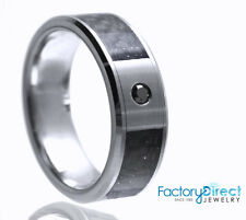 Men`s Tungsten Carbide Ring with 0.04 ct Black Diamond (8mm) Wedding Band Father
