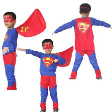 Halloween Costume Party Cosplay Kids Boys Superman Fancy Ball Suit S M L Size