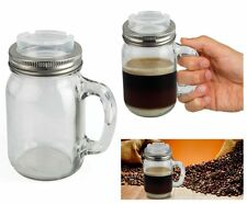 Mason Jam Jar Glass Mug with Lid for All Hot Drinks Tea Cup Coffee Hot Chocolate
