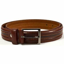 "Mens Milano Leather Lined Embossed Belt 1.25"" Wide Brown 2726 real"