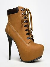 NEW BRECKELLES Women Sexy Lace Up Heel Ankle Boot Booties Tan sz Camel Blazer11