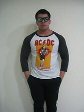 AC/DC For Theose About To Rock Raglan T-Shirt Men's White Graphic Tee Bunny
