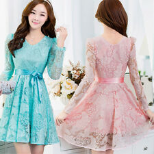 Hot Women Hollow Lace  Long Sleeve BowKnot Cocktail Party Ladies Skater Dress