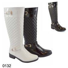 Womens Ladies UK Girls Quilted Winter Patent Style Low-Heel High-Calf Knee Boots