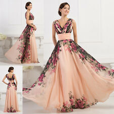 XMAS FLORAL V Neck Mother of the Bride/ Groom Formal Prom Gown Party MAXI Dress