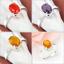 Unique Women's Gift Oval Garnet Amethyst Brazil Citrine Gemstone Silver Ring