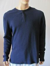 New LUCKY BRAND Mens Dark Blue Casual Crew Knit L/S Henley Thermal Tee Shirt $54