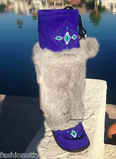 2015 AUTHENTIC CANADIAN MUKLUKS BLUE SUEDE GREY RABBIT FUR, ROYAL BLUE