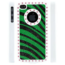Gem Crystal Rhinestone Green Black Zebra Leather Case For Apple iPhone 5 5S 5G