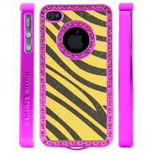 Apple iPhone 5 5S Gem Crystal Rhinestone Yellow Gray Zebra Shimmer Leather case