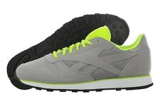 Reebok V59400 CL Leather Tech Grey Neon Yellow Casual Shoes Medium (D, M) Men