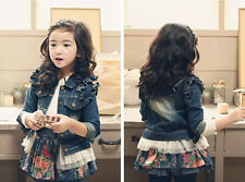 spring new girls lace denim jacket denim clothing for children's clothes coats
