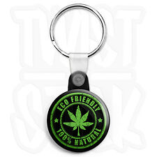 Natural Weed Leaf - 25mm Smoke Cannabis Keyring Button Badge, Zip Pull Option