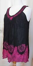 Tunic top, blouse, tie dye black and pink, free size 14/16/18/20, bust 48""