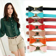 New Women Fashion Candy Color Big Bowknot Pu Leather Thin Skinny Waistband Belt