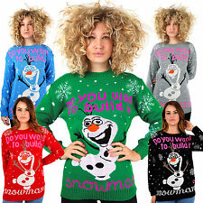 FROZEN CHRISTMAS JUMPER Do You Want To Build A Snowman Olaf Sweater Xmas Party