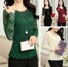 SEXY WOMEN Lace O-neck Long Sleeve LADIES T-Shirt Top Stretch Casual BLOUSE Top