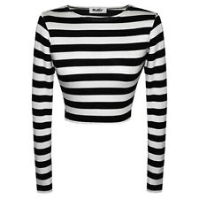 Womens Ladies Stripe Print Long Sleeve Crop Top