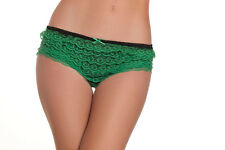 Hot Pants Ruffled Shorts Two-Tone Lingerie Green, S,M,L