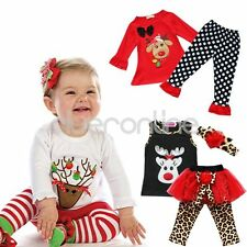 NEW Baby Girls Clothes Christmas Sets Deer T-Shirt +Pant Outfits Xmas Gift 6M-4T