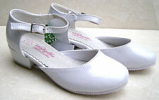 GIRLS WHITE LEATHER INSOLE BRIDESMAID WEDDING COMMUNION HEELS BRIDAL PARTY SHOES