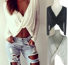 Sexy Women Plunge Deep Vneck Cross Twisted Crop Top Blouse Tee Casual Clubwear R