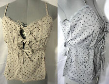 NWT bodice Corset Top Lace-up womens S,M,L Beige or Gray ruffle tank sexy blouse