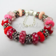 Authentic PANDORA Sterling Silver Charm Bracelet w/ Red Pink Murano Glass Beads