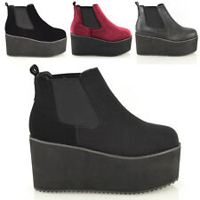 WOMENS CHUNKY CLEATED PLATFORM WEDGE SOLE HEEL LADIES CHELSEA ANKLE BOOTS SHOES