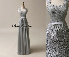 New STOCK Chiffon Formal Prom Party Ball Wedding Gray Bridesmaid Evening Dresses