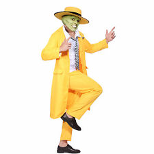 Mens 90's Yellow Gangster Zoot Suit The Mask Jim Carrey Costume Fancy Dress