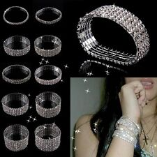 Fashion Jewellery Stretch Elastic Crystal Shine 10 Rows Diamond Bracelet Bangle