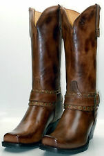 Charlie 1 Horse by Lucchese I4714 Womens Harness Boots Tostado Brown Calf Skin