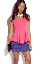 Coral Pleated Peplum Going Out Top 294
