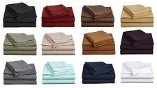 Super Soft 1800 Thread Count Contemporary Microfiber Bedroom Solid Bed Sheet Set