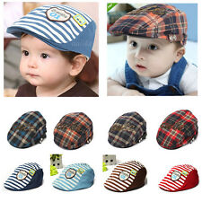 Baby Boy Kid Toddler Plaid Beret Cap Casquette Check Pageboy Flat Peaked Hat