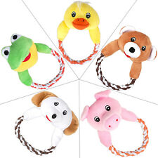 Animal Pet Plush Cotton Braided Leash Squeaker Dog Toy Pig Dog Frog Bear Duck