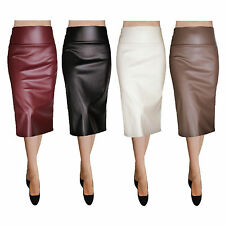 Sexy Bodycon Slim Casual Faux Leather Fabric Straight Pencil Skirt - Made in USA