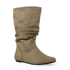 Womens Taupe Mid-Calf Slouchy Flat Boots Scrunch Faux-Suede Soda Zurich-S