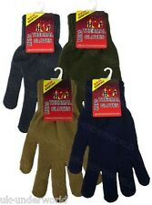 ADULTS MENS PLAIN HOT THERMAL KNITTED WINTER WARM GLOVES ONE SIZED NEW