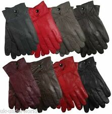 Ladies 100% Genuine Sheepskin Leather Lined Gloves Driving Dress Winter Warm M-L
