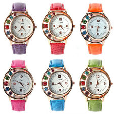Fashion Crystal Women Ladies Girl Dress Leather Bracelet Quartz Wrist Watch Hot