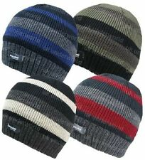 ADULTS MENS THERMAL LINED THINSULATE STRIPED KNITTED BEANIE WINTER WARM HAT