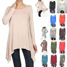 Solid PIKO Style Boat Neck Long Sleeve Loose Asymmetric Tunic Top S-3X