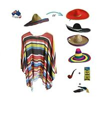 Mexican Poncho Sombrero Hat Wild West Cowboy Bandit Fancy Party Dress Up Costume